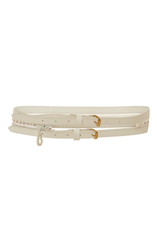 Medium alexis mabille white leather embellished zip belt