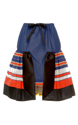 Medium alexis mabille blue bayadere striped flounce chambray skirt