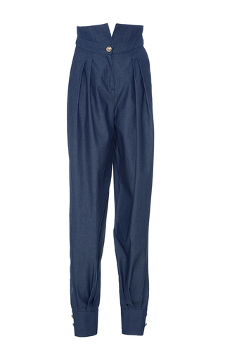 Medium alexis mabille navy high waisted chambray trousers