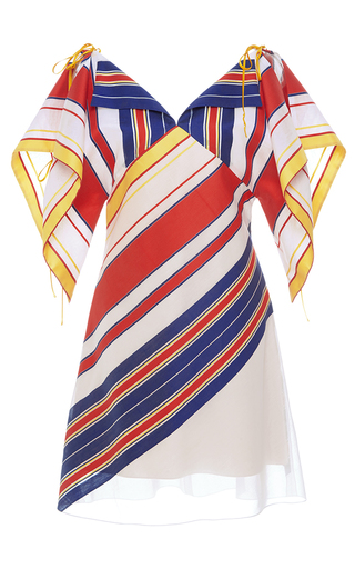 Medium alexis mabille multi bayadere striped handkerchief dress