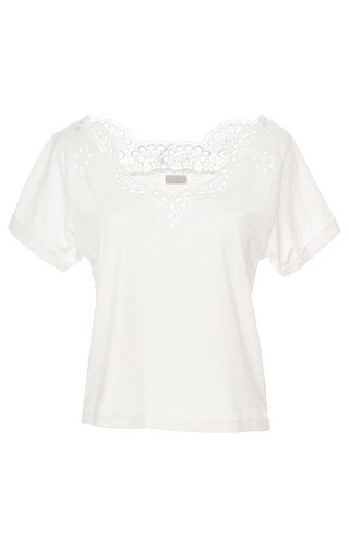 Medium alexis mabille white embroidered jersey top