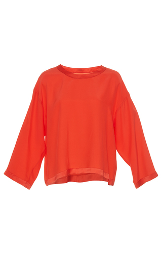 Medium alexis mabille coral silk relaxed fit top
