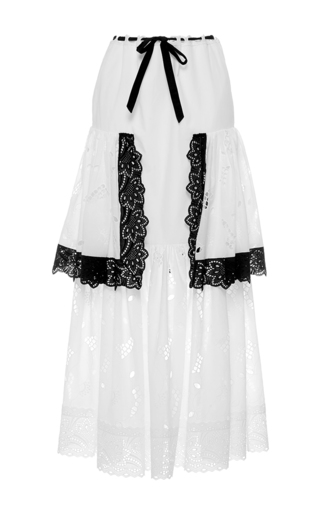Medium alexis mabille white tiered full length skirt