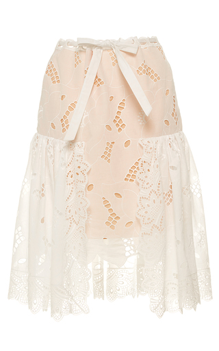 Medium alexis mabille white richelieu embroidered skirt