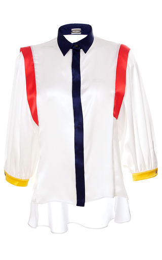 Medium alexis mabille white three quarter balloon sleeve top