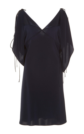 Medium alexis mabille navy open shoulder handkerchief crepe dress