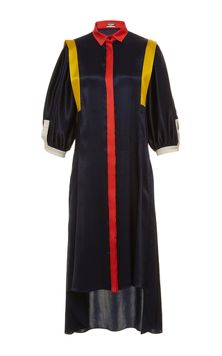 Medium alexis mabille navy silk crepe shirt dress