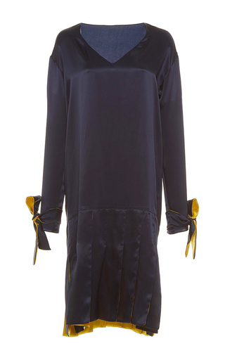 Medium alexis mabille navy long sleeve ribbon crepe dress