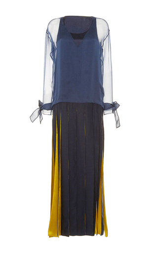 Medium alexis mabille navy long crepe ribbon dress