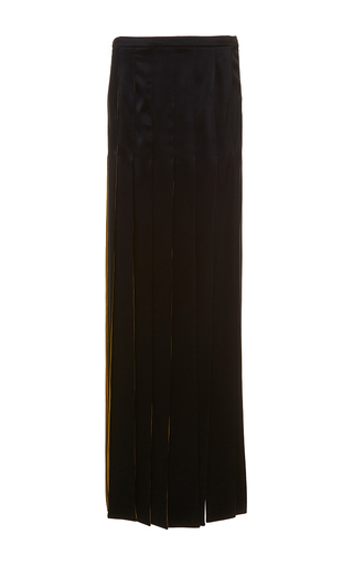 Medium alexis mabille navy long satin crepe ribbon skirt