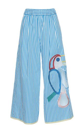 Medium mira mikati blue toucan wide leg trousers