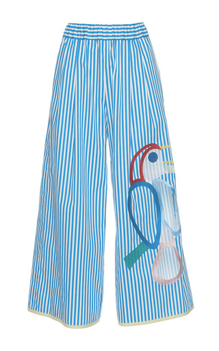 Medium mira mikati blue toucan wide leg trousers