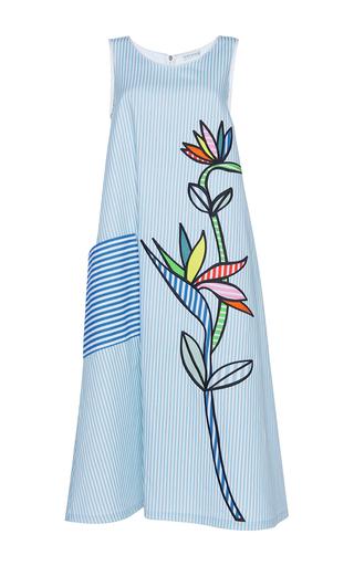 Medium mira mikati blue bird of paradise applique scuba dress