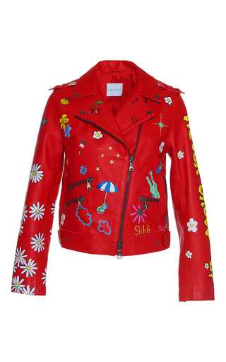Medium mira mikati red hand painted never grow up leather jacket