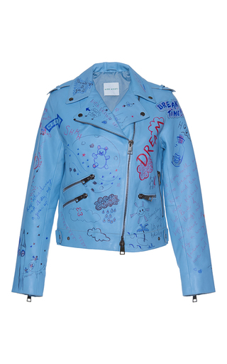 Medium mira mikati blue hand painted doodle leather jacket