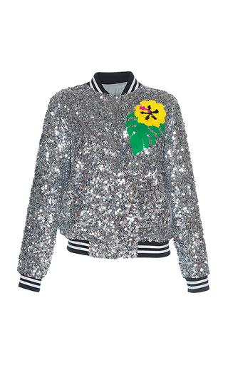 Medium mira mikati silver sequin toucan bomber jacket