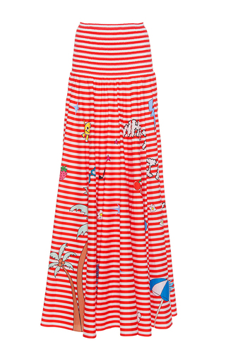Medium mira mikati stripe printed circle skirt