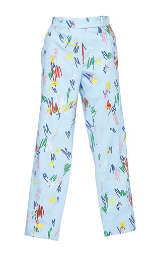 Medium mira mikati blue scribble printed trousers