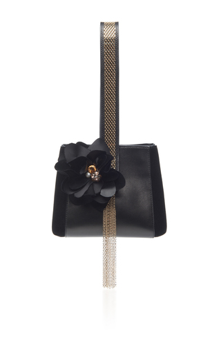 Medium lanvin black embroidered leather mini handle bag