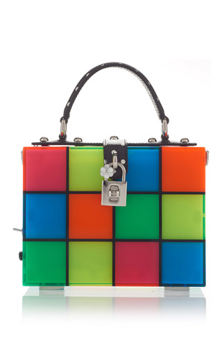 Medium dolce gabbana multi multicolor squares top handle bag