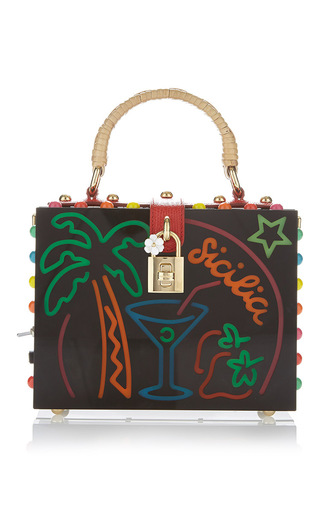 Medium dolce gabbana black palm tree top handle bag
