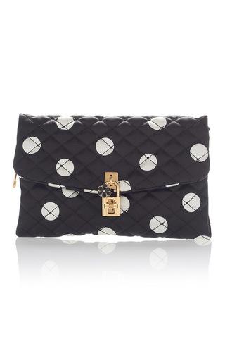 Medium dolce gabbana black polka dot quilted clutch