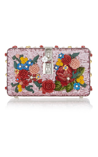 Medium dolce gabbana pink floral sequin shoulder bag 3