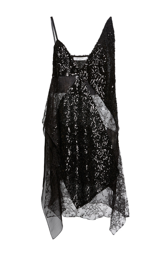 Medium lanvin black sequin asymmetrical dress