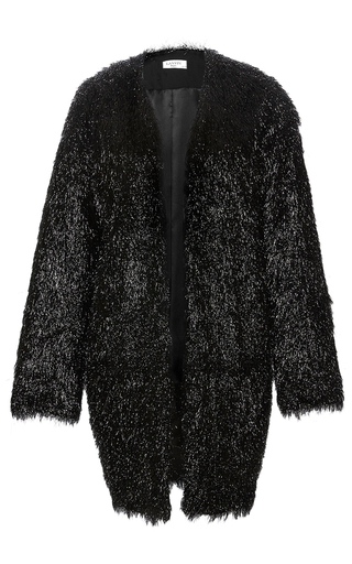 Medium lanvin black lame three quarter length sleeve coat