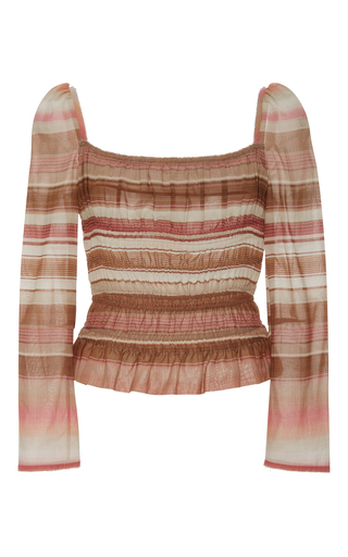 Medium brock stripe voile elasticized taylor top