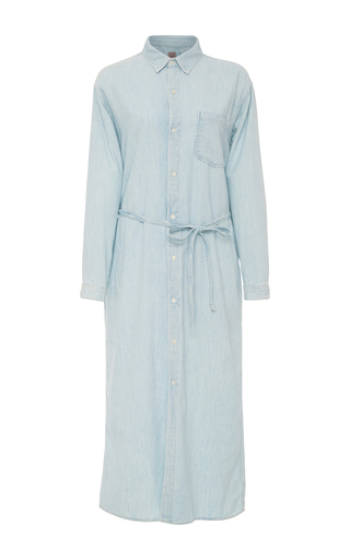 Medium citizens of humanity blue jamie long belted shirt dress