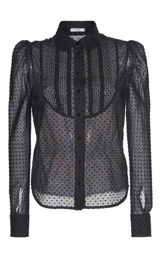 Medium vilshenko black emilia swiss dot collared blouse
