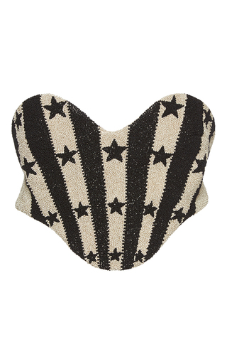 Medium vilshenko black oma satin twill star embroidered corset