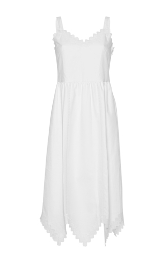 Medium vilshenko white inga zig zag trim sleeveless dress