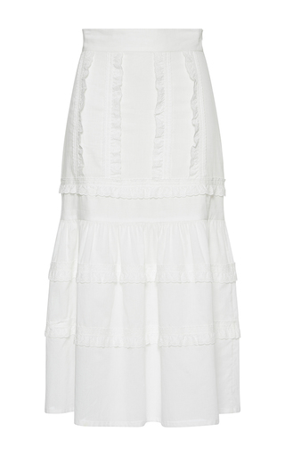 Medium vilshenko white liliya embroidered high waisted midi skirt