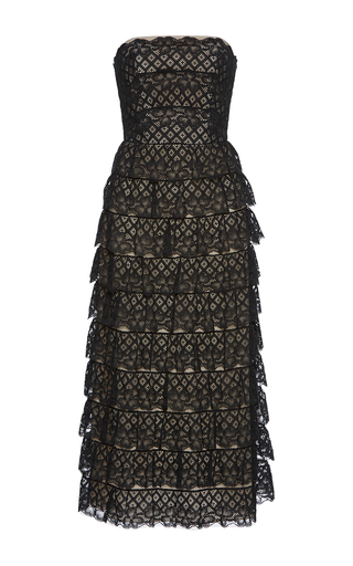 Medium vilshenko black harmony strapless lace midi dress