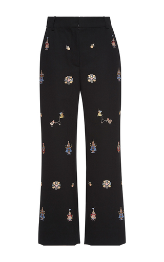 Medium vilshenko multi alisa embroidered high waisted ankle pants