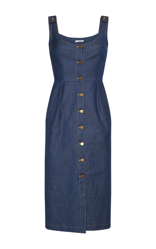 Medium vilshenko dark wash pauletta denim midi dress