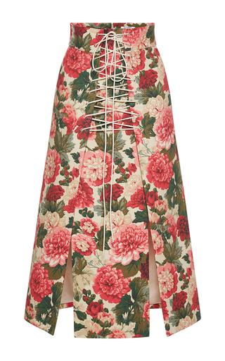 Medium vilshenko floral anfisa floral a line lace up skirt