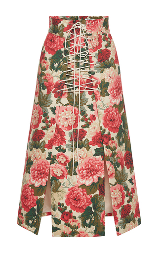 Medium vilshenko floral anfisa floral a line lace up skirt