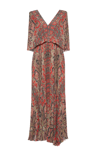 Medium vilshenko print sylwia accordion pleat overlay maxi dress