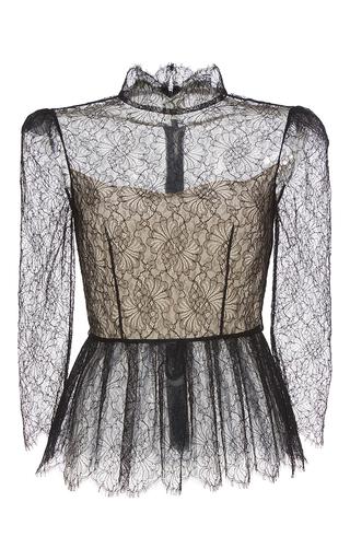 Medium vilshenko black magda mock neck lace peplum blouse