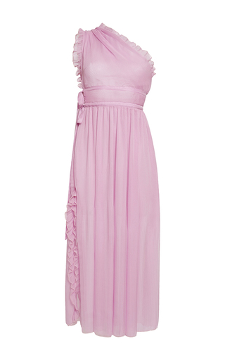 Medium rochas pink chiffon asymmetrical neck midi dress