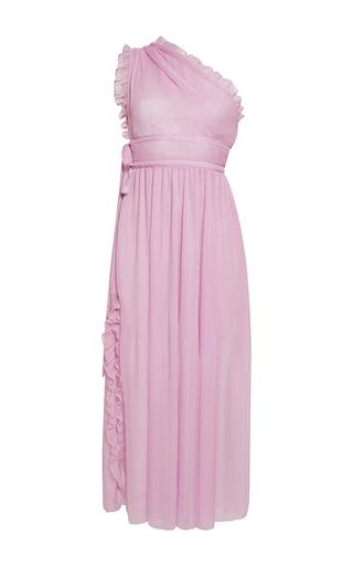Medium rochas pink chiffon asymmetrical neck midi dress