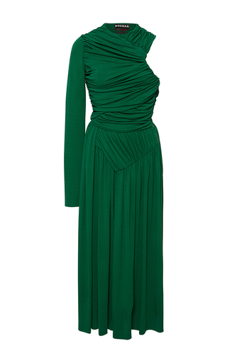 Medium rochas green draped one shoulder midi dress