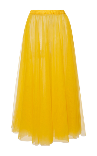 Medium rochas yellow layered tulle column skirt 2