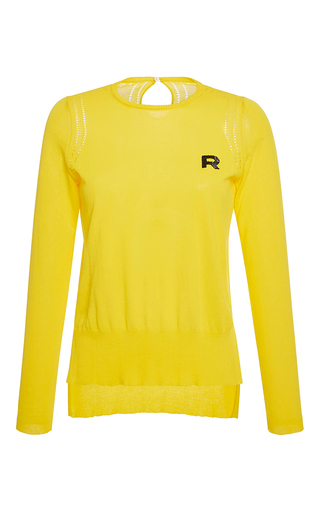 Medium rochas yellow long sleeve cotton knit top