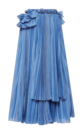 Medium rochas blue pleated skirt with ruffle detail