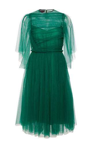 Medium rochas green draped tulle butterfly sleeve dress