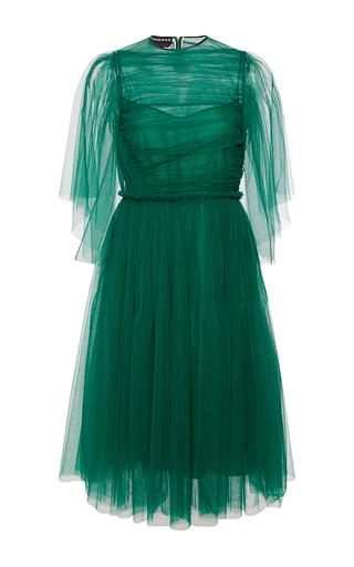 Medium rochas green draped tulle butterfly sleeve dress